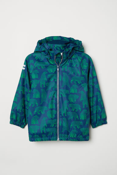 Fleece-lined rain jacket - Dark blue/Bears - Kids | H&M CN