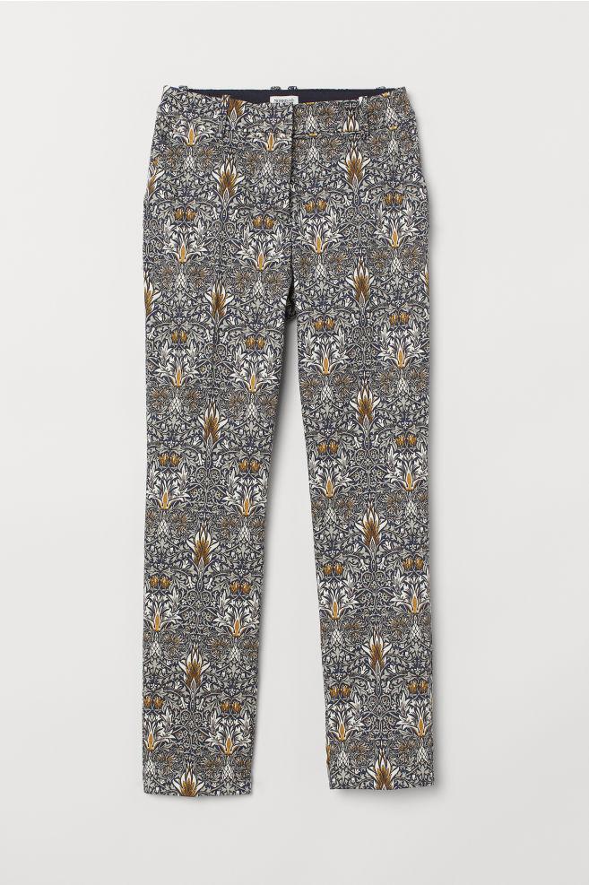 021f4622bd3a Vzorované nohavice - modrá biela vzorovaná - ŽENY