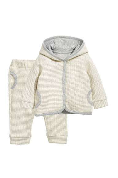 Hooded jacket and trousers - Natural white/Light grey -  | H&M CN
