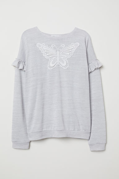 Fine-knit jumper with frills - Light grey marl - Kids | H&M