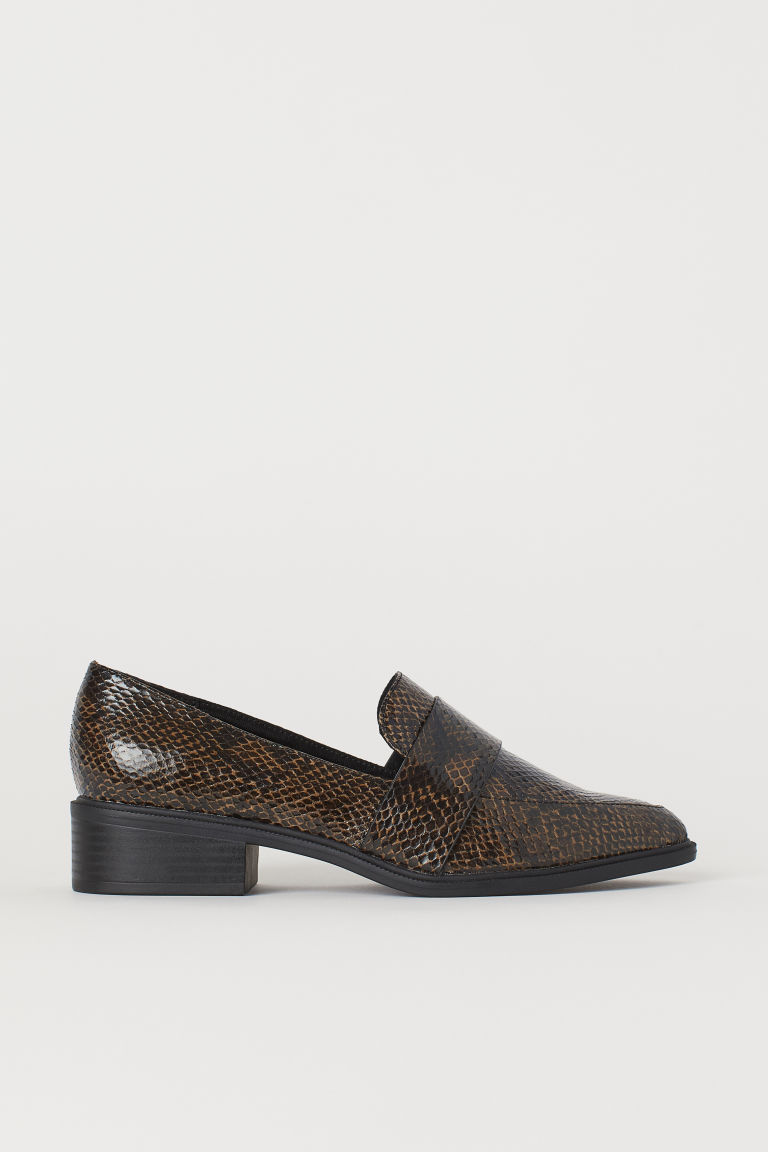 Snakeskin-patterned loafers - Dark brown/Snakeskin-patterned - Ladies | H&M