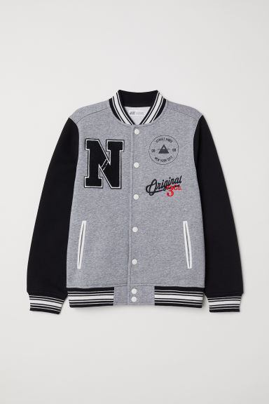 Baseball jacket - Grey marl/Black - Kids | H&M
