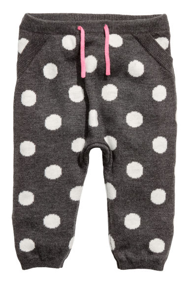 Jacquard-knit joggers - Dark grey/Spotted -  | H&M CN