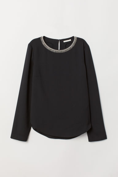 Blouse with sparkly stones - Black - Ladies | H&M