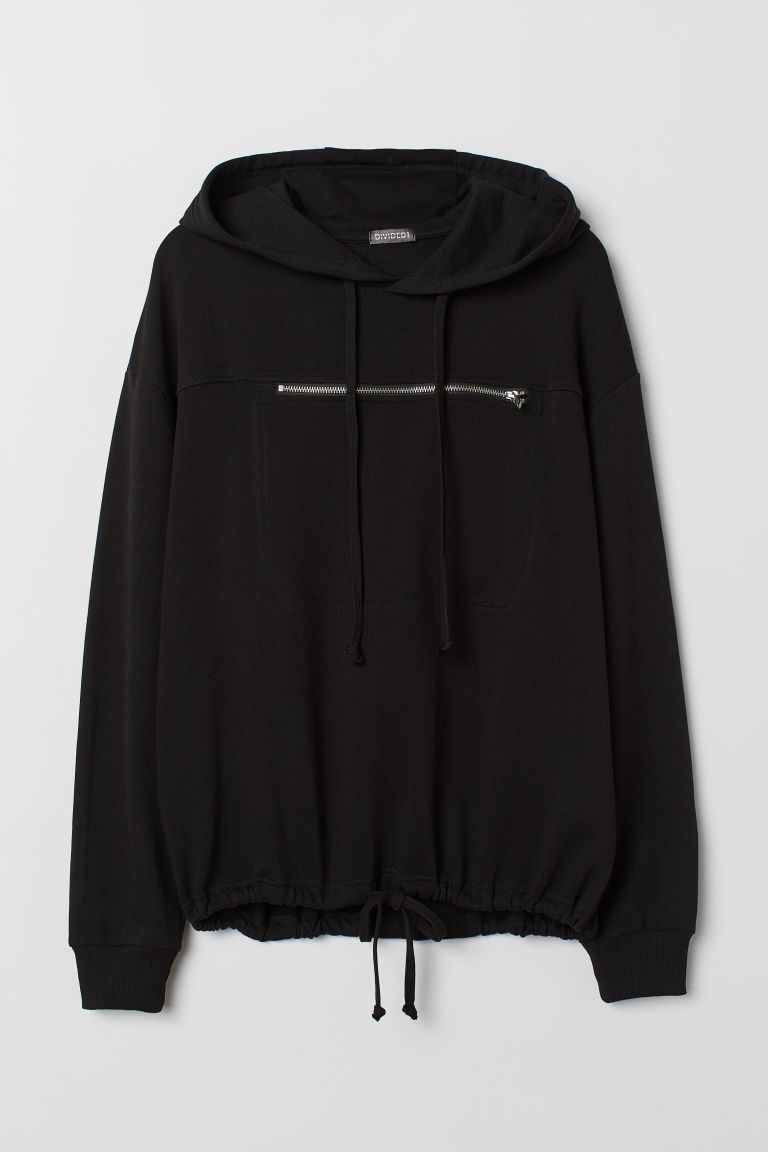 Hooded top with a chest pocket - Black -  | H&M