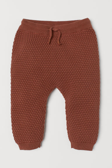 Textured-knit trousers - Brown - Kids | H&M CN