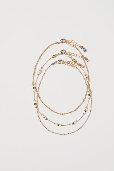 3-pack anklets - Gold-coloured - Ladies | H&M CN