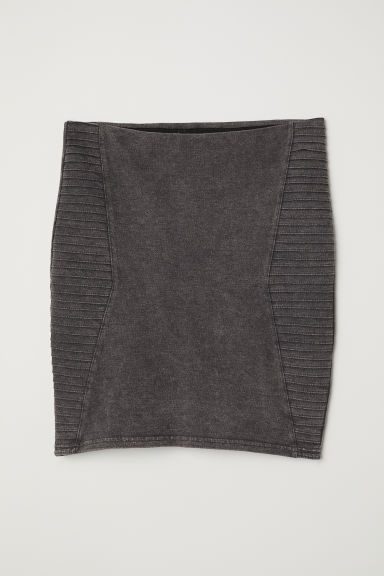 Short jersey skirt - Dark grey washed out -  | H&M