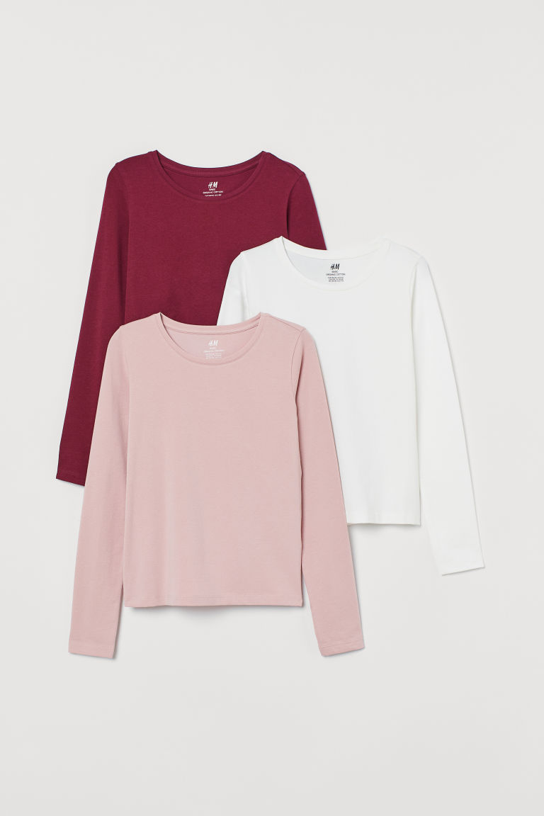 3-pack jersey tops - Plum purple/Dusky pink/White - Kids | H&M IN