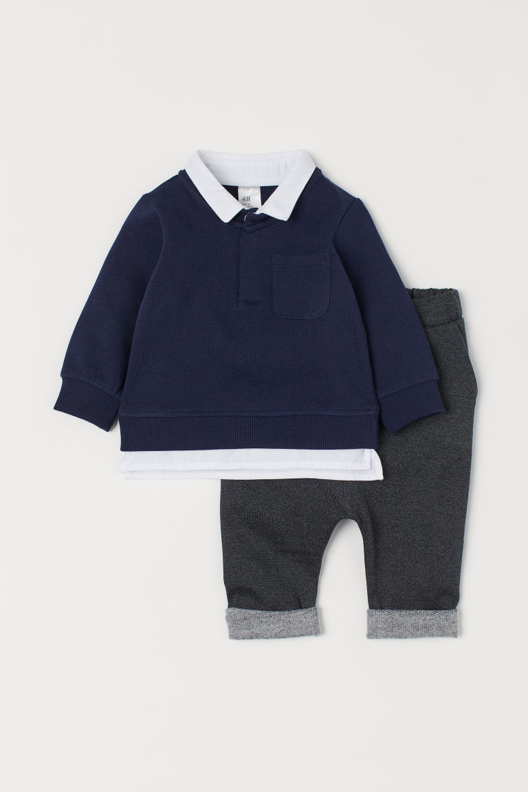 Dressy Sweatshirt Set - Dark blue - Kids | H&M CA