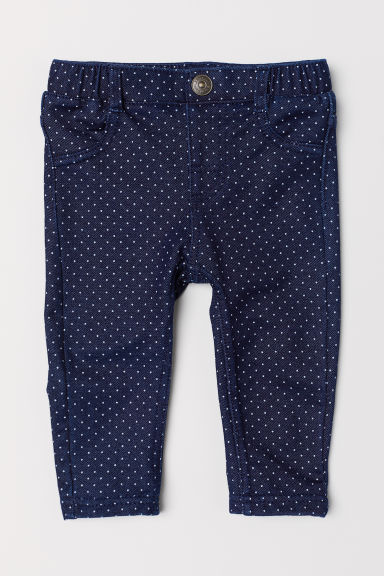 Denim leggings - Dark denim blue/Spotted - Kids | H&M