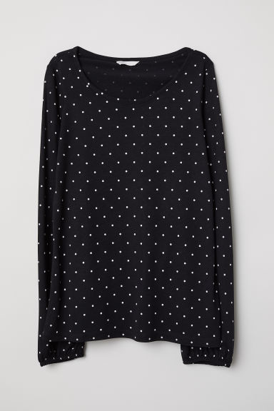 MAMA Long-sleeved nursing top - Black/White spotted -  | H&M