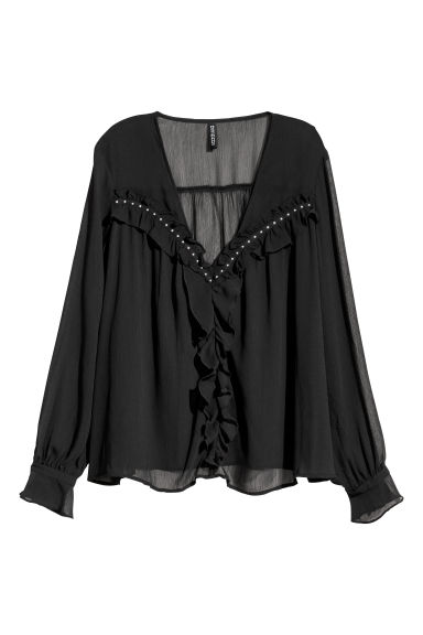 Chiffon blouse - Black - Ladies | H&M CN