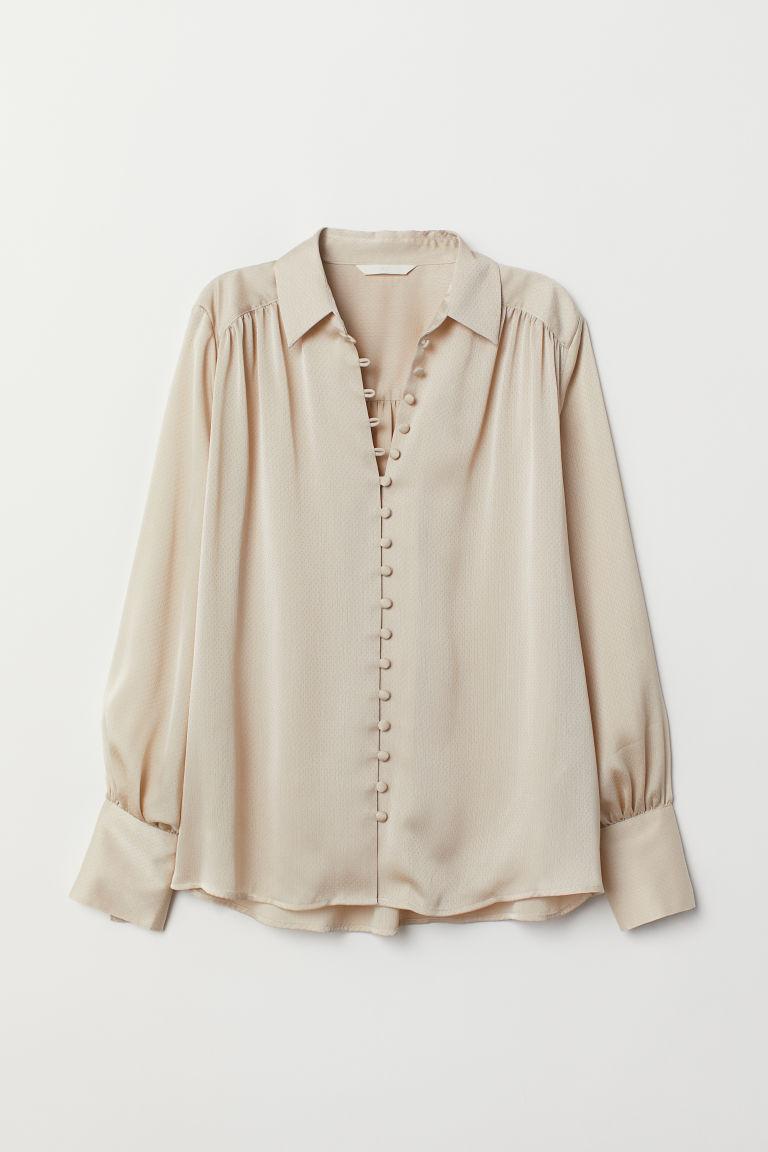 Long-sleeved Blouse - Beige - Ladies | H&M US 5