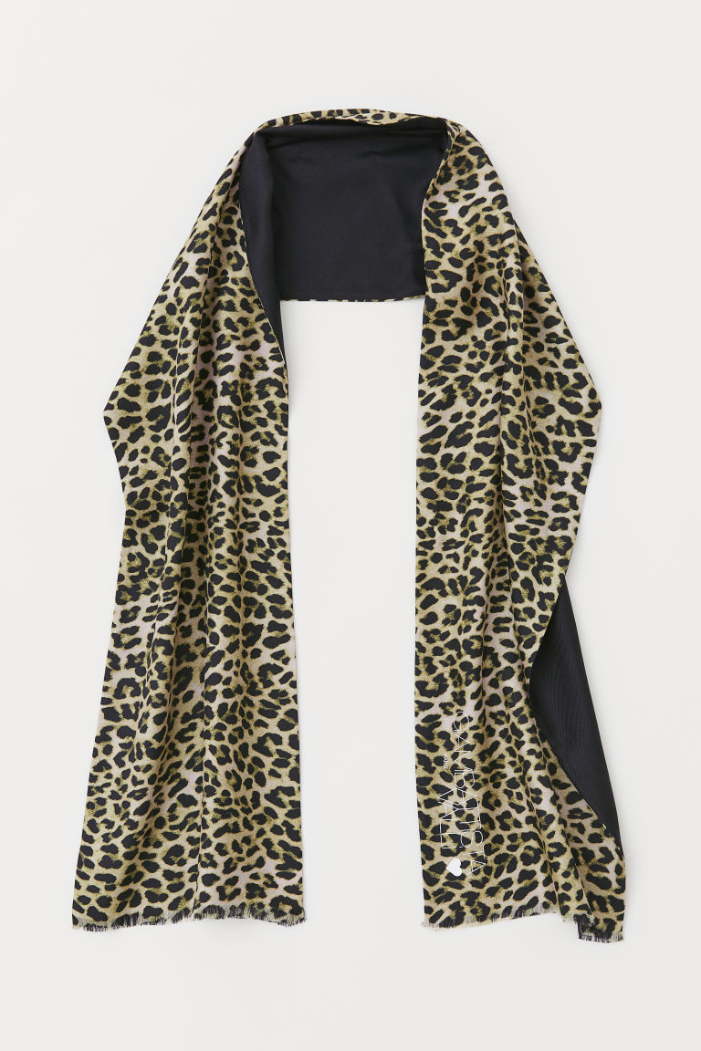 Long silk-blend scarf - Black/Leopard print - Men | H&M
