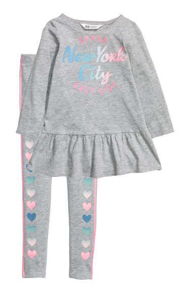 Robe et legging - Gris chiné/New York -  | H&M FR