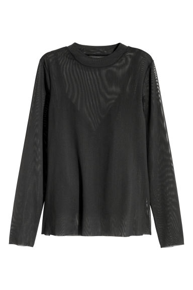 Long-sleeved mesh top - Black - Ladies | H&M CN