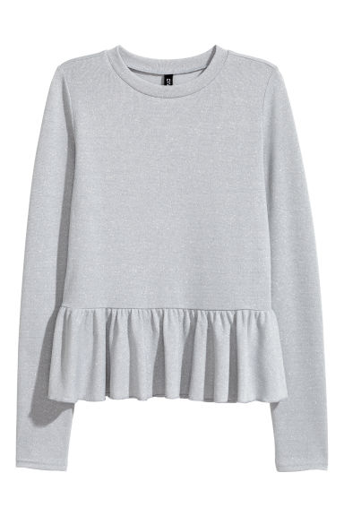 Glittery peplum jumper - Light grey/Glittery -  | H&M
