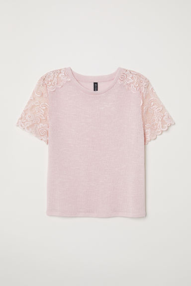 Fine-knit top with lace - Light pink -  | H&M