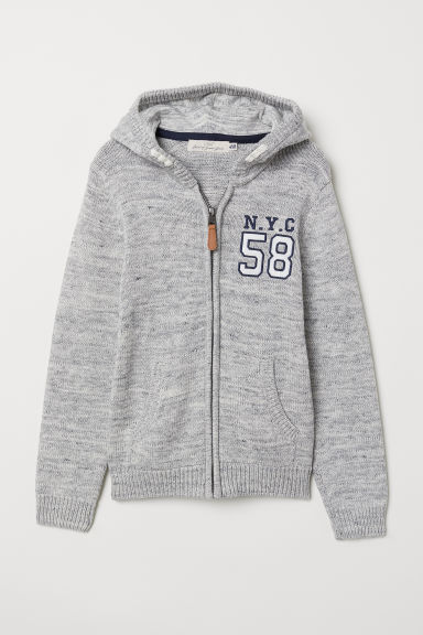 Knitted hooded jacket - Grey marl - Kids | H&M