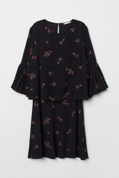 MAMA Nursing dress - Black/Floral - Ladies | H&M