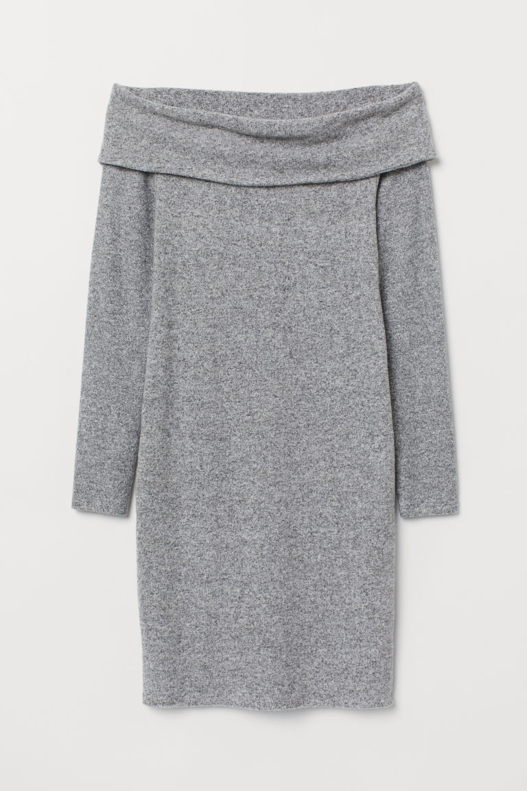Off-the-shoulder dress - Grey marl - Ladies | H&M GB