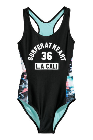 Sports swimsuit - Black/Multicoloured - Kids | H&M CN