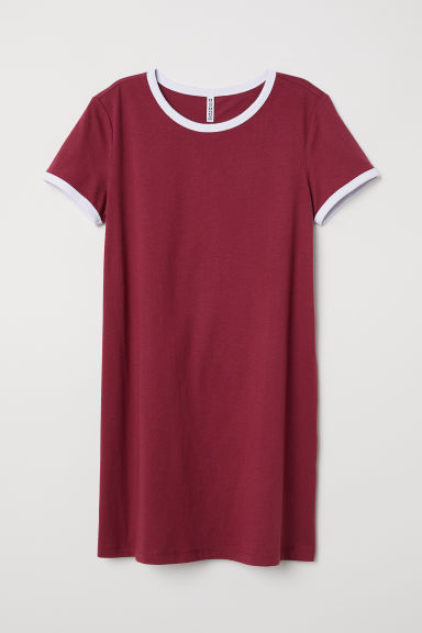 T-shirt dress - Burgundy - Ladies | H&M