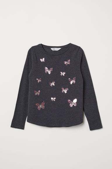 Jersey top with sequined motif - Dark grey marl/Butterflies - Kids | H&M CN