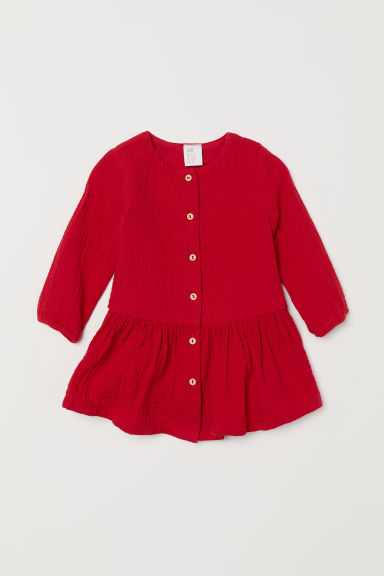 Double-weave cotton dress - Red - Kids | H&M