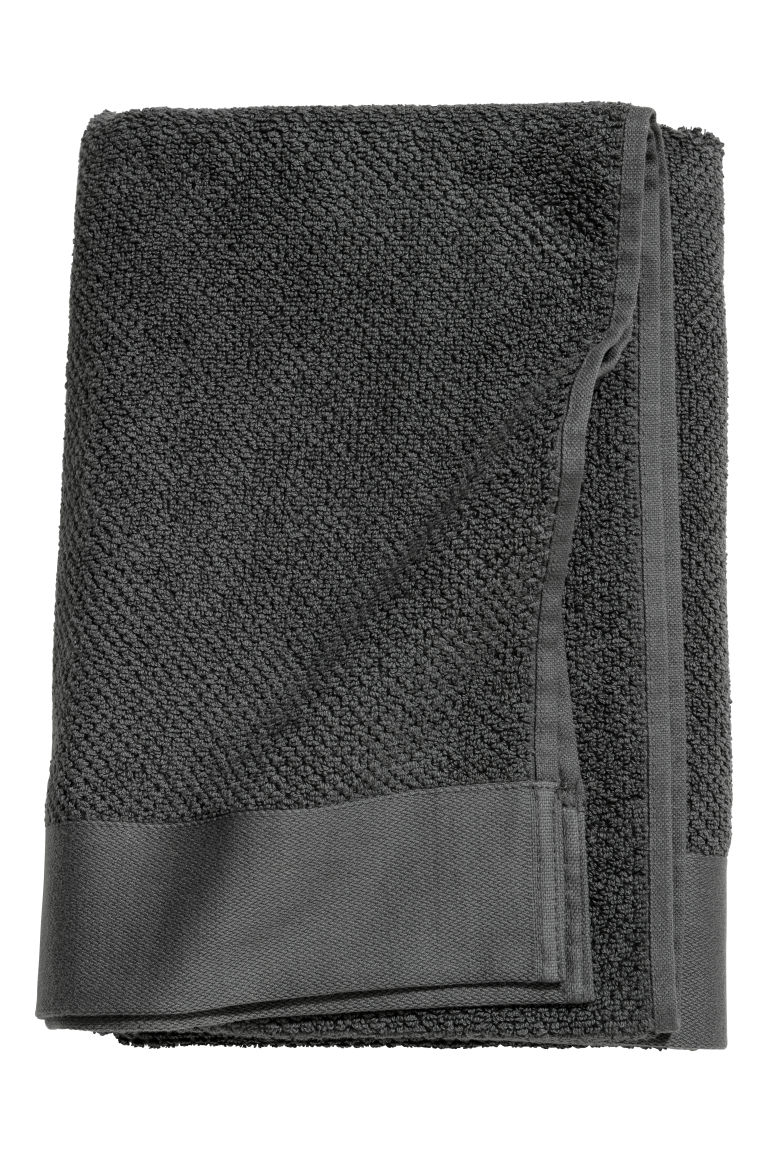 Cotton bath towel - Dark grey - Home All | H&M CN