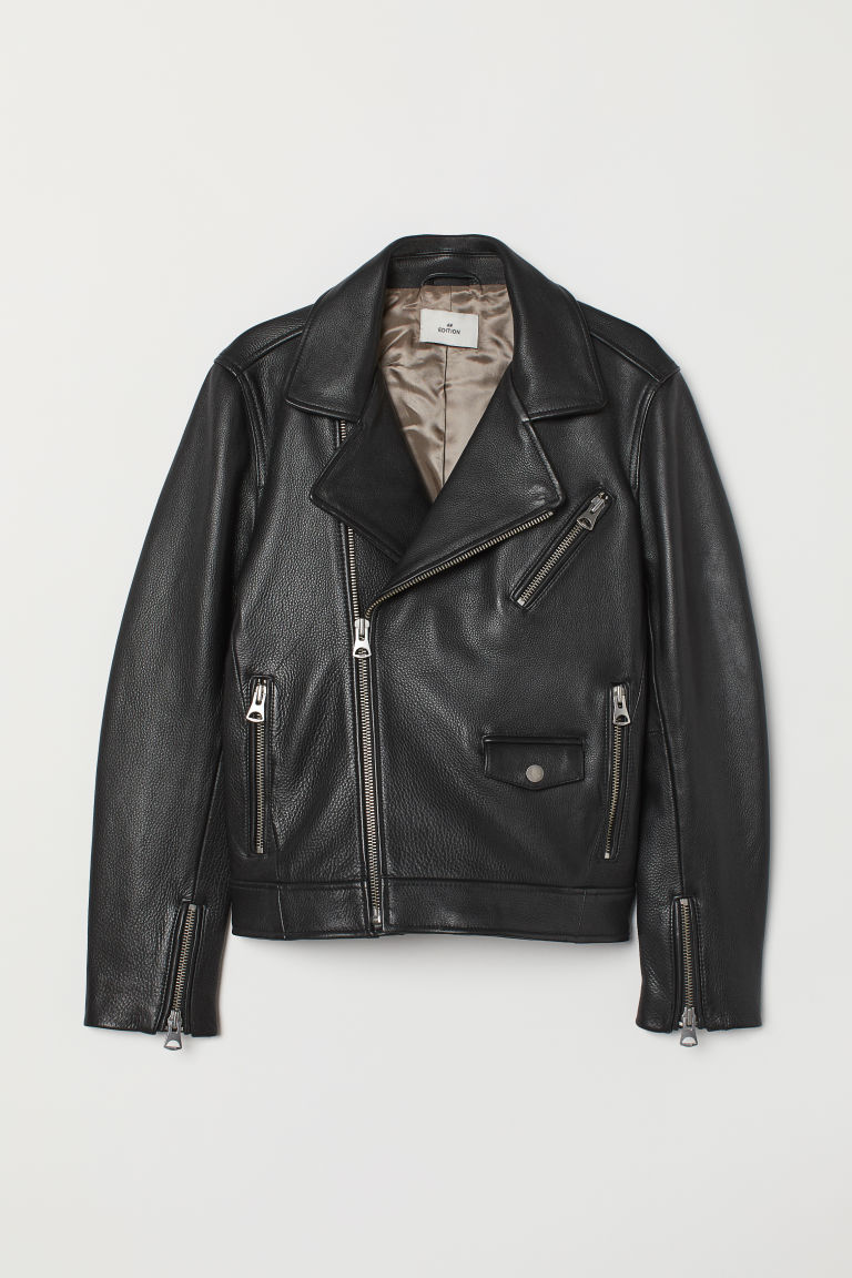 Leather biker jacket - Black - Men | H&M