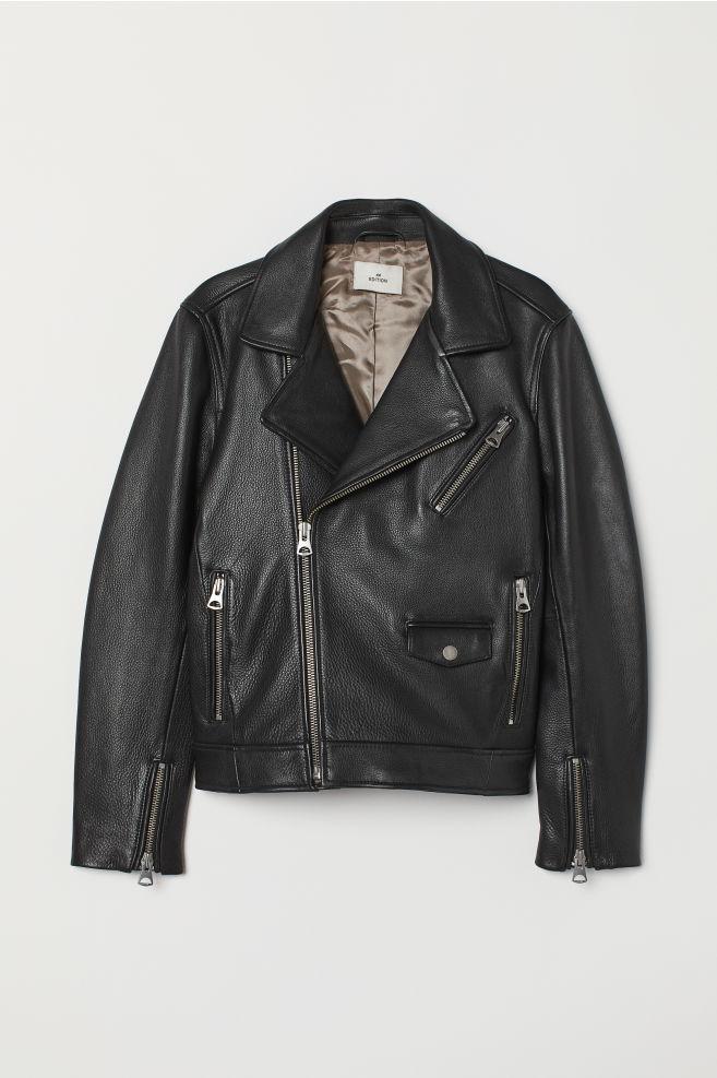 5d3e68bdb57 ... Leather Biker Jacket - Black - Men