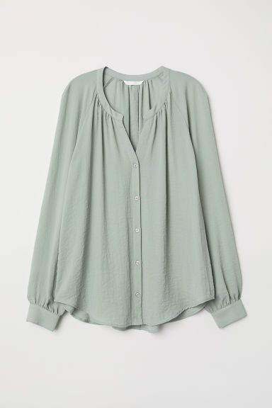 Crêped Blouse - Light khaki green - Ladies | H&M US