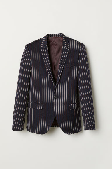 Striped jacket Skinny Fit - Dark blue/Striped - Men | H&M