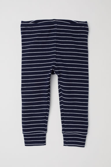 Leggings in jersey a coste - Blu scuro/righe - BAMBINO | H&M IT