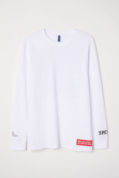 Top à manches longues - Blanc/Speed Up -  | H&M FR