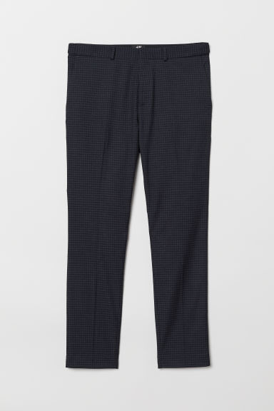Suit trousers Skinny Fit - Dark blue/Checked - Men | H&M