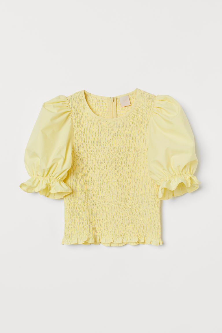 Top with Smocking - Light yellow - Ladies | H&M CA