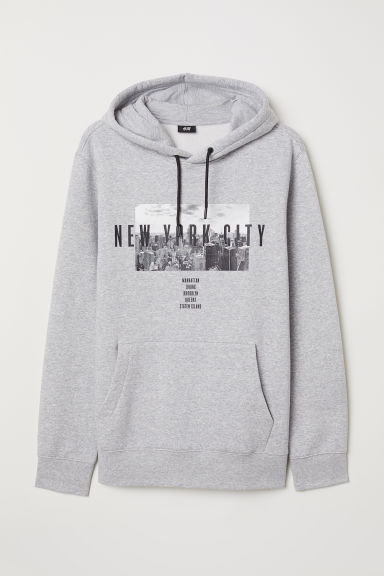 Printed hooded top - Grey marl - Men | H&M