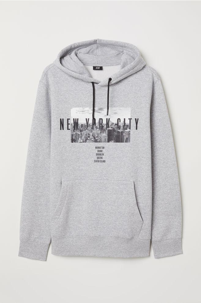 c92dcf0f929 Printed Hooded Sweatshirt - Gray melange - Men