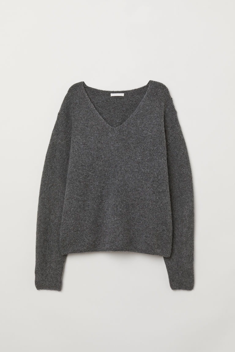 Knit Sweater - Dark gray melange - Ladies | H&M US