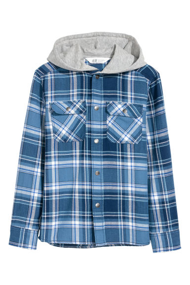 Twill hooded shirt - Blue/Checked -  | H&M