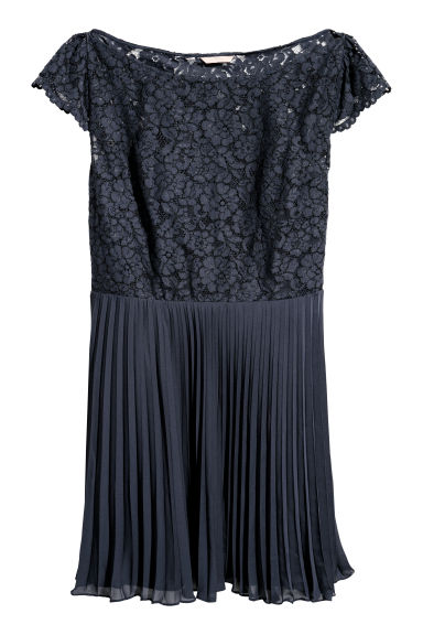 H&M+ Pleated dress - Dark blue - Ladies | H&M CN