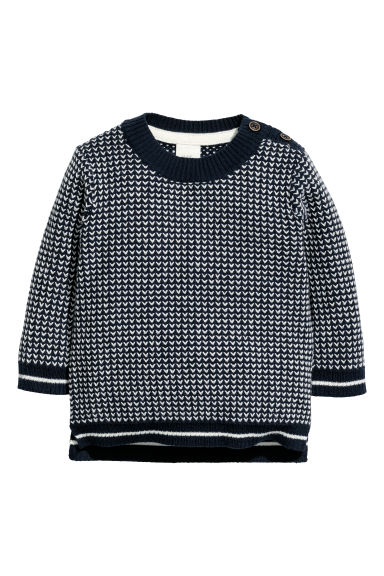 Textured-knit jumper - Dark blue/Patterned -  | H&M