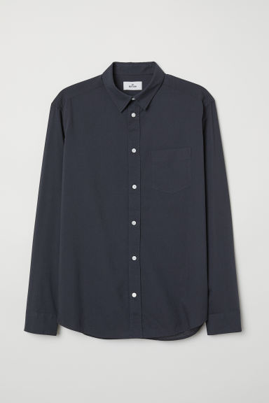 Cotton poplin shirt - Dark blue - Men | H&M