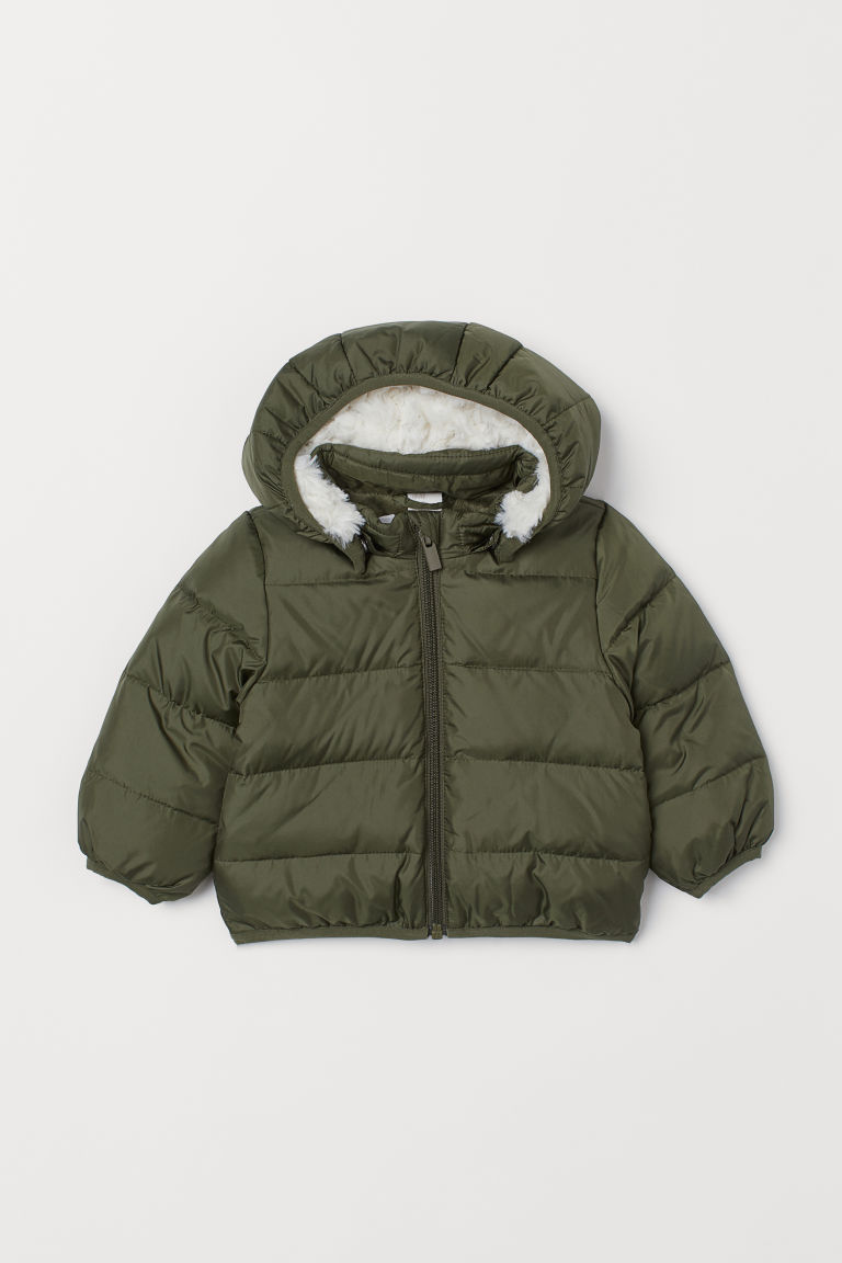 Hooded down jacket - Khaki green - Kids | H&M