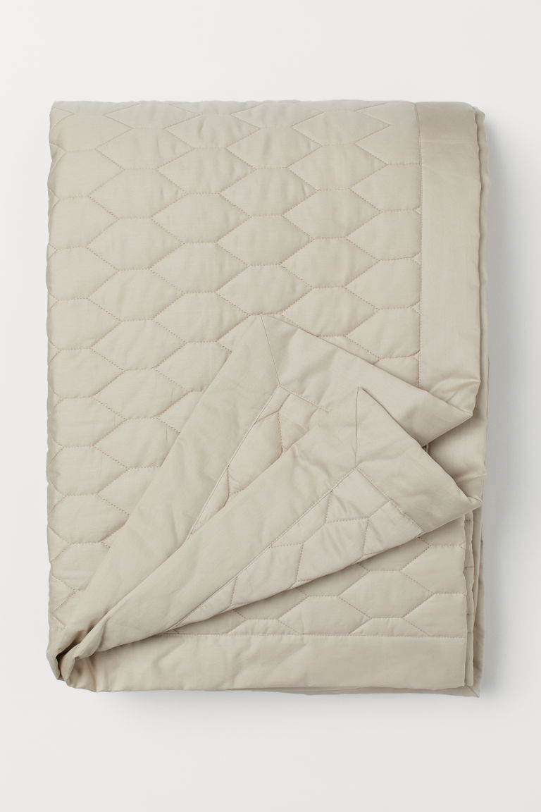 Quilted bedspread - Light beige - Home All | H&M CN
