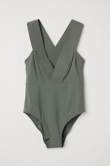V-neck swimsuit - Khaki green - Ladies | H&M