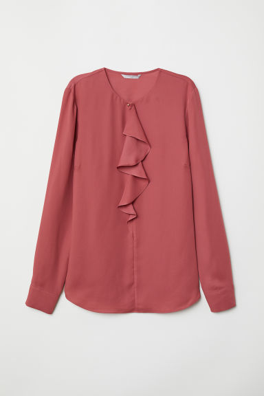 Flounced blouse - Dark pink - Ladies | H&M